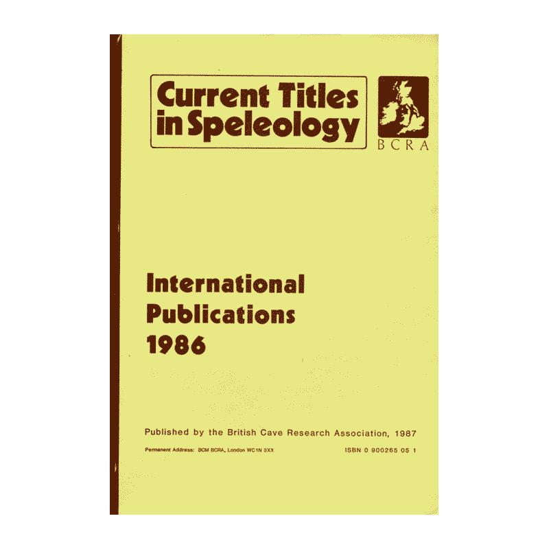 Current Titles in Speleology